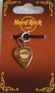 Hard Rock Cafe MIAMI FL GUITAR PICK CHARM for BRACELET (BROWN)   NEW