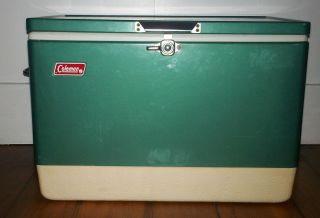 SUPER DUPER VINTAGE FOREST GREEN COLEMAN COOLER ICE CHEST HEAVY DUTY