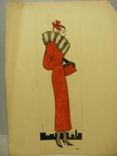 Art Deco Original Jean Walmsley Heap Signed Fashion Designer