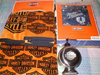 HARLEY DAVIDSON BATH SET LOT 5 PC LOT NEW TOWELS SHOWER CURTAIN SOAP