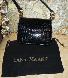 HELENE BLACK ALLIGATOR CROCODILE CROSS OVER SHOULDER BAG + LANA MARKS