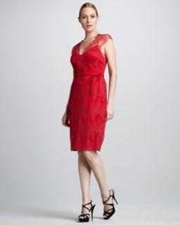 Kay Unger New York Lace V Neck Tie Back Dress