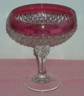 Vintage Indiana Glass Diamond Point Compote Pedestaled Dish