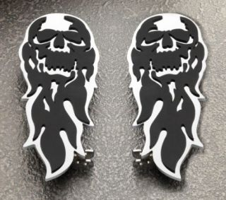 Harley Davidson Motorcycle Flaming Skull Foot Boards