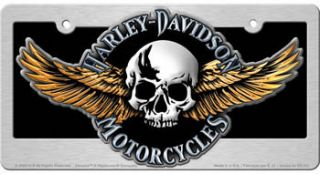 HARLEY DAVIDSON Skull w Wings License Plate Auto Tag Frame Combo