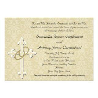 Anillos de oro con la cruz, amor cristiano elegant invitación