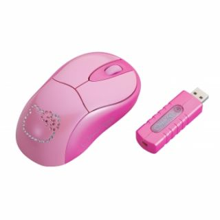 HELLO KITTY WIRELESS COMPUTER LAPTOP MOUSE w/ RF RECEIVER NEW