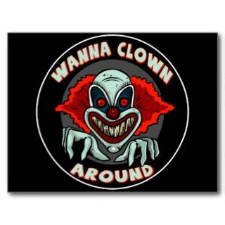 Evil Clown Biker T shirts Gifts Postcard