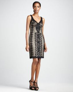 Sue Wong Lace Overlay Cocktail Dress