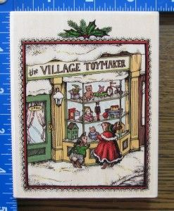 Holly Pond Hill Rubber Stamp XL Christmas Toyshop Window Scene Bunnies