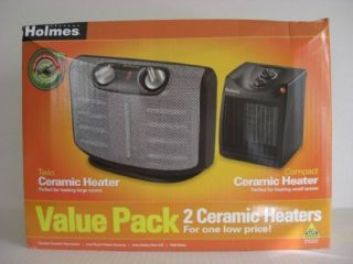 Holmes Twin Compact Ceramic Heater Value Pack Portable
