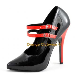PLEASER Womens 6 Mary Janes Black Red Pumps Heels
