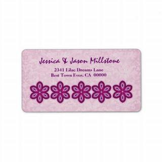 Pink and Magenta Modern Flowers Custom Address Labels