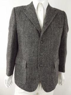 Mens blazer jacket dark gray Harris Tweed L 42R 42 R 100 wool