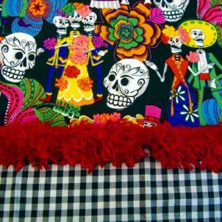 Alexander Henry Los Novios Black Skulls Fabric Yd
