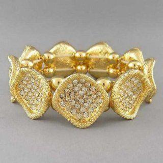 Gold Stretch Bracelet with Crystal Studs Fashion Jewelry Jewelry