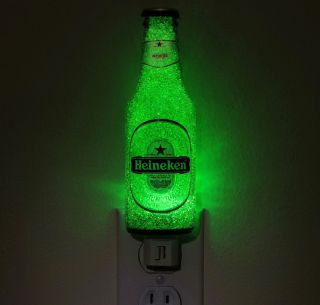 Heineken Beer 7oz LED Night Light/Bottle Lamp~ Crystal Glow ~Bodacious