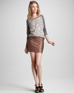 41WS Haute Hippie Lace Front Slub Top & Metallic Bandage Skirt