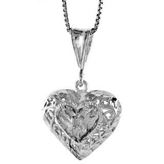 ) Tall Filigree Heart Pendant (w/ 18 Silver Chain) Everything Else