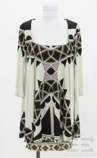 Mara Hoffman Khaki & Black Jersey Long Sleeve Dress Size Large