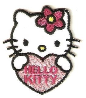 Hello Kitty Pink Heart Cartoon Emo Embroidery Iron on Patches