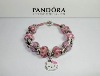 Leather Pandora Bracelet Hello Kitty17 Beads Charms w Receipt