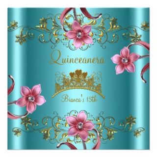 Quinceanera 15th Teal Blue Pink Flowers Gold Tiara Announcements