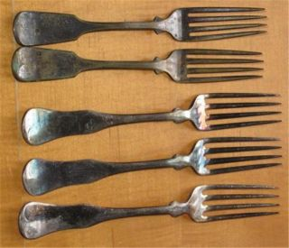 Antique Silverplate Dinner Forks FIVE Wm. Rogers Mfg. Co. AA
