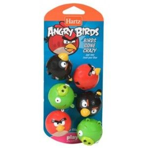 Hartz Official Angry Birds Cat Toy Birds Gone Crazy Balls w Bells 6pk
