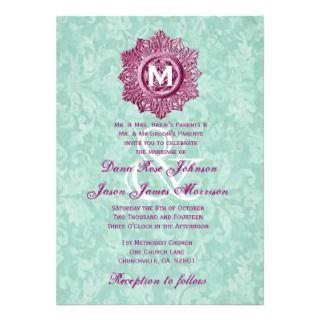Pink Vintage Embellishment Monogram Wedding G453 Custom Announcements