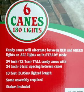 New Set of 6 Color Changing Candy Canes Christmas Decoration Red Green