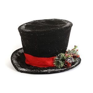 Flocked Black Frosty the Snowman Top Hat Christmas Tree Topper w