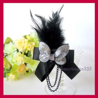 Party Black Bowknot Feather Sequin Hat Pin Brooch 075