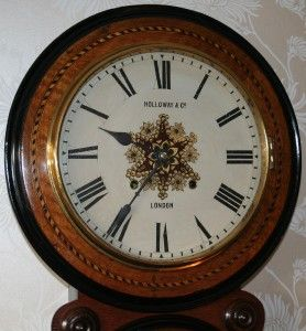 Holloway Co London Marquetry American Prize Medal Regulator Wall Clock