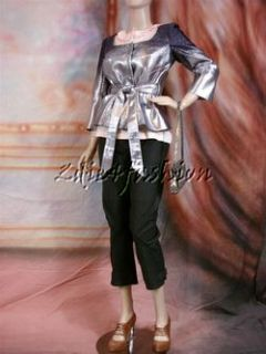2490 New Carolina Herrera Stunning Purple Silver Metallic Belt Jacket