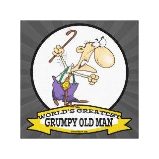 WORLDS GREATEST GRUMPY OLD MAN CARTOON GALLERY WRAP CANVAS