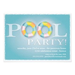 Pool Party Floating Tubes in the Water Custom Invite