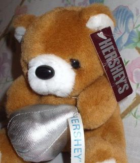 HERSHEYS CHOCOLATE KISSES 6 PLUSH STUFFED TEDDY BEAR W/ SILVER KISS