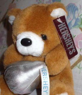 HERSHEYS CHOCOLATE KISSES 6 PLUSH STUFFED TEDDY BEAR W/ SILVER KISS