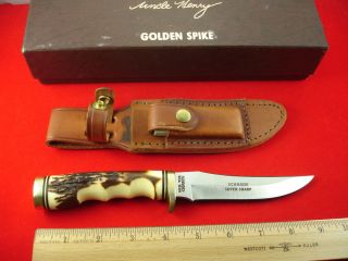 153UH Uncle Henry Golden Spike Old 2pc Brown Box USA Made Knife