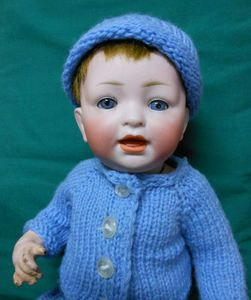 Bisque Laughing Boy Girl Doll by Hertel Schwab