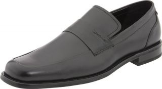 NEW CALVIN KLEIN HERVEY Black Leather Loafers Dress SHOES Mens 8 5 NIB