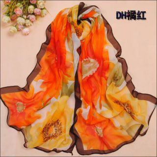 Fast/Low Ship 40%Silk Scarf Multi Colored Floral Print #2445