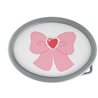 Pink Fuzzy Heart Bow Oval Belt Buckle