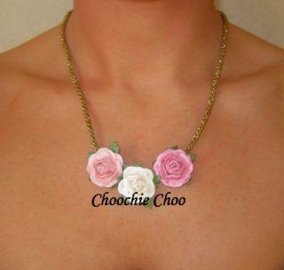 Pink White Rose Gold Vintage Vtg Necklace Choochie Choo