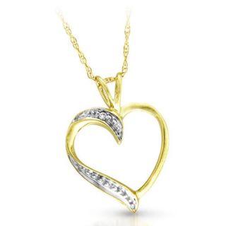 Cute 9 ct Gold Women Heart Diamond Pendant + Chain Princess Cut I I1