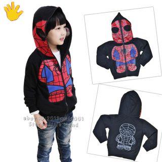 New Kids Spiderman Coat Boys Hoodies Girls Full Zipper Mask Jacket