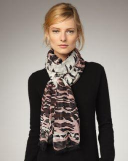 Roberto Cavalli Lana Leopard Print Stole, Pink