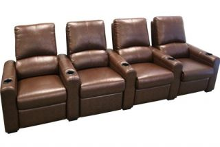Eros Home Theater Seating 8 Brown Seats Recliner Chairs