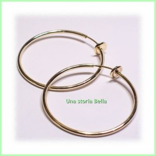 PR Spring Clip on Hoop Earrings Goldtone 770 USA Seller